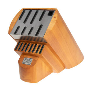 Chicago-Cutlery-Knife-Block-Without-Knives-Storage-Wood-Stainless-Steel-Plate