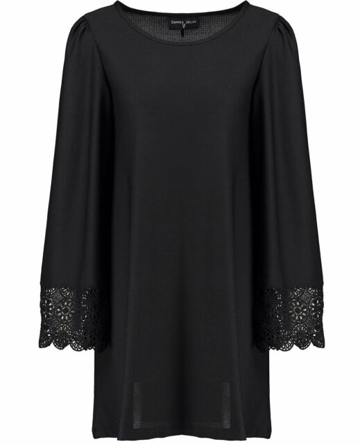 Ladies Long Sleeve A-Line Swing Dress Lace Cuffs Bell Sleeve Black Flared Tunic