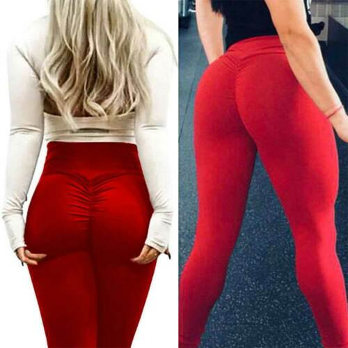 Womens Push Up Yoga Leggings Sports Pants High Waist Ruched Fitness Trousers NM8