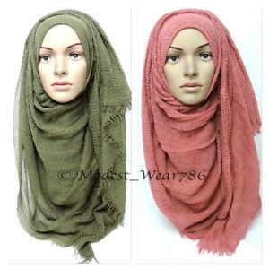 Premium-Cotton-Viscose-Maxi-Crinkle-Hijab-Scarf-Shawl-Islam-Muslim-180x100cm