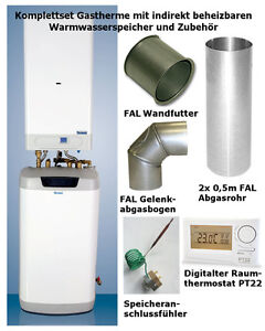 gastherme kombitherme extern warmwasser speicher boiler komplettset mit zubeh r ebay. Black Bedroom Furniture Sets. Home Design Ideas