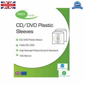 NEO-CD-DVD-maniche-di-plastica-con-patta-bordo-cucito-120-Micron-CHIARO-NUOVO-HQ