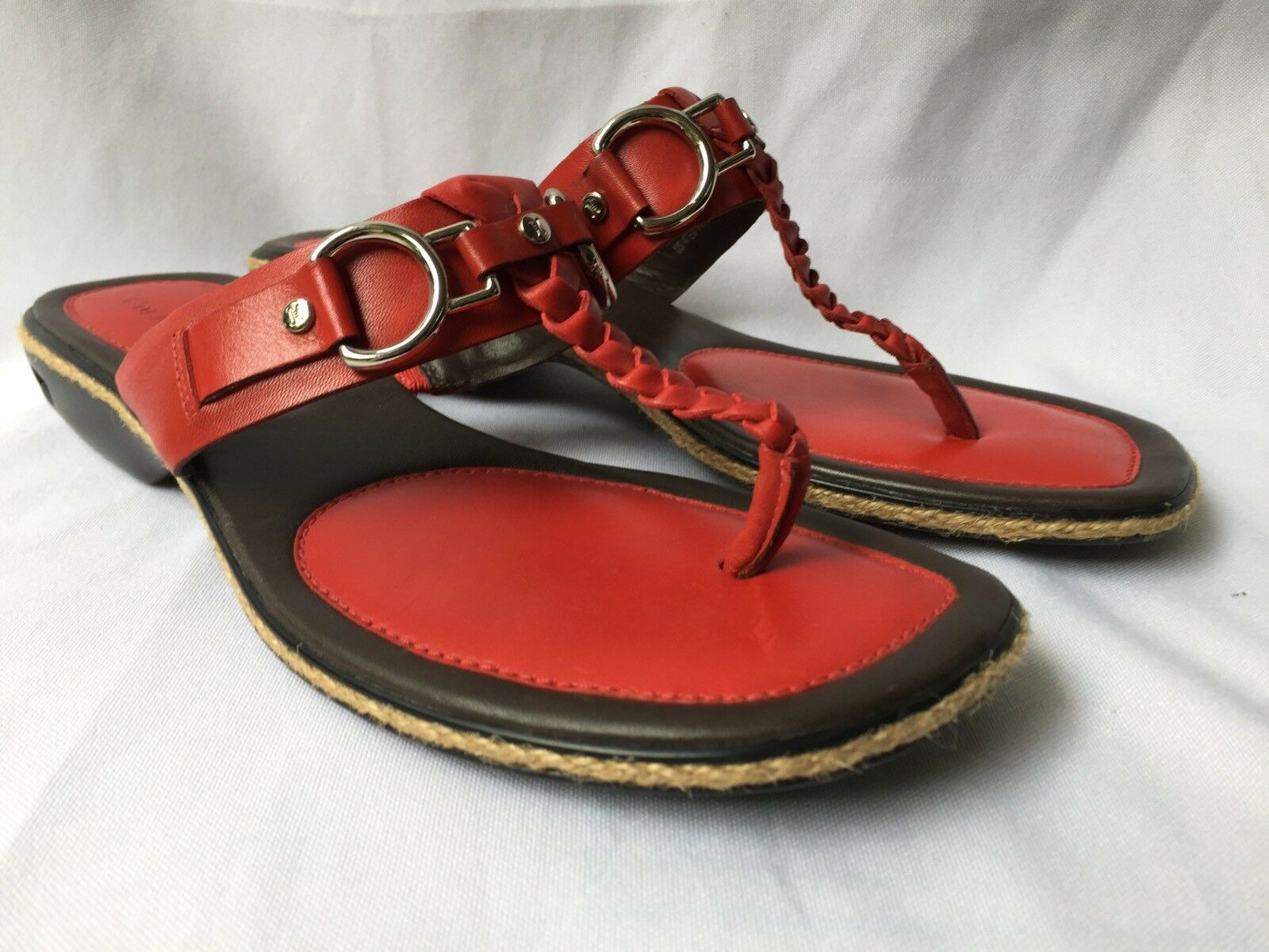 Cole Haan Sandals Red Leather Braided Silver Bit Rope Trim T-Strap Slip On