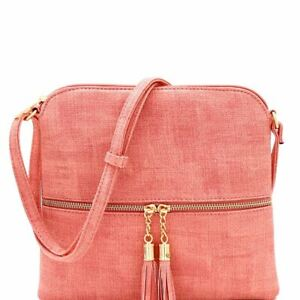 Textured PU Leather Front Pocket Tassel Accent Functional Crossbody Bag