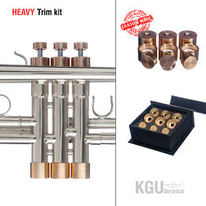 Trumpet-Trim-Kit-KGUBrass-HEAVY-Caps-Raw-Brass-TKHR100-Custom-parts