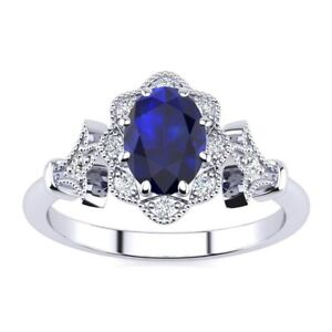 14-K-Gold-1-Carat-Oval-Shape-Sapphire-and-Halo-Diamond-Vintage-Ring-in-3-Colors