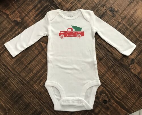 Infant One Piece Bodysuit Christmas Truck With Tree 0-3 Months