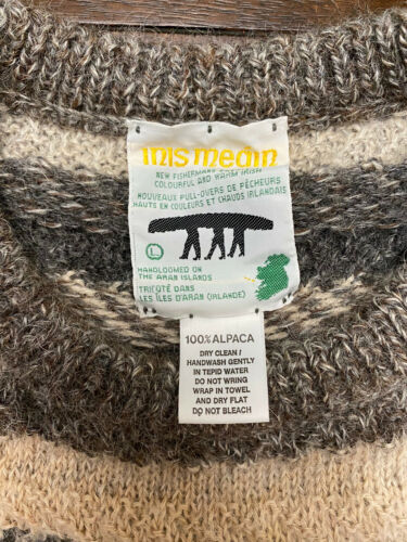 INIS MEAIN VINTAGE sweatshirt 100% alpaca hand lo… - image 1