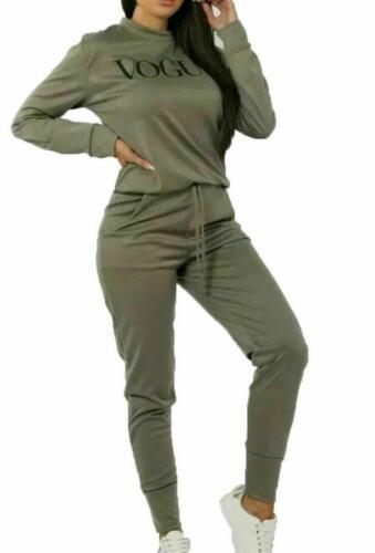 New Womens Ladies VOGUE Tracksuit Co Ord Set Top Bottom Fleece Lounge Wear 2 Pcs