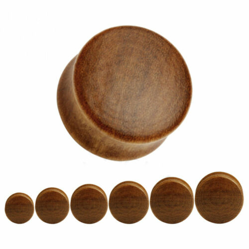 LIGHT BROWN Wooden Ear Plugs Stretchers Jewellery Saddle Tunnel Timber PL118