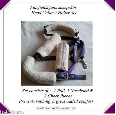 Poll Horse Pony Head Collar Halter Set Cheek Piece Faux Sheepskin Noseband