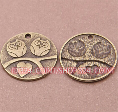 P545 8pc Antique Bronze owl Pendant Bead Charms Accessories wholesale
