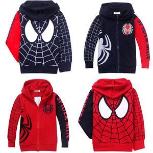 Spiderman-Kapuzenjacke-Kinder-Jungen-Hoodie-Pulli-Maentel-Jacke-Sweatjacke-Kostuem