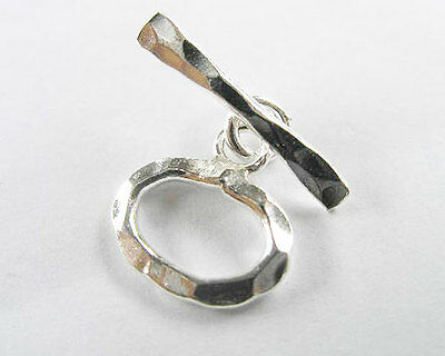 Karen Hill Tribe Silver 2  Hammered Toggles 10x14 mm.