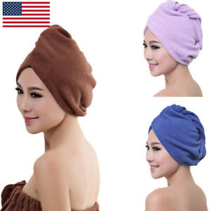 Turbie-Twist-100-Microfiber-Hair-Towel-Wrap-Drying-Cap-Hat-Loop-Button-5-Colors