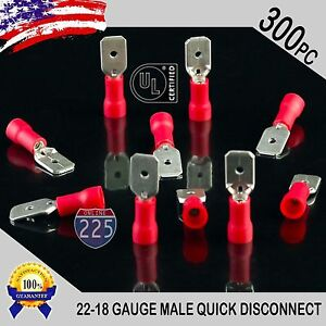 "300 Pack 22-18 Vinyl Quick Disconnect Female .250/"" Terminal Red USA Made"