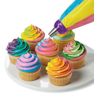 Icing Piping Bag Nozzle 3 Hole 3 Color Cream Coupler Cake Decor Tool Glamour