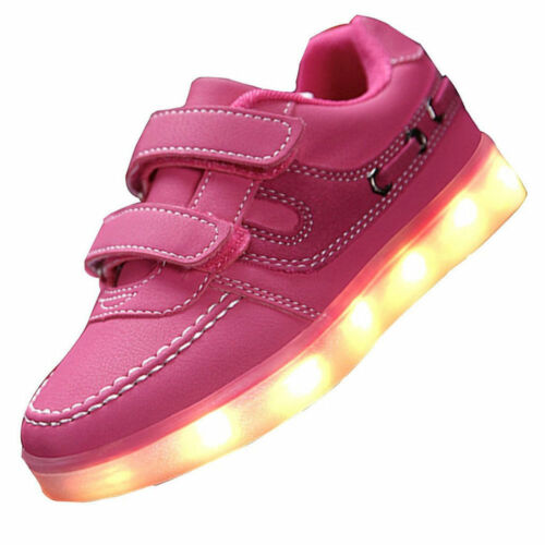 Children LED Light Up Sneakers Luminous Shoes Boy Girl Athletic Toddler Big Kids