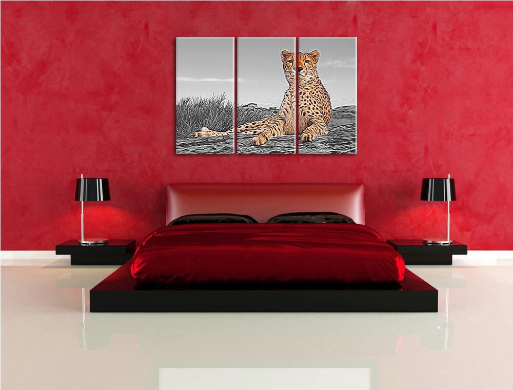 Latente Leopardo 3-Teiler Foto en Lienzo Decoración de de Decoración Pared Impresión Artística 1ddf60