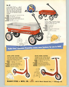 1954-PAPER-AD-2-Sided-Radio-Line-Flyer-Coaster-Wagon-Super-Rancher-Scooters