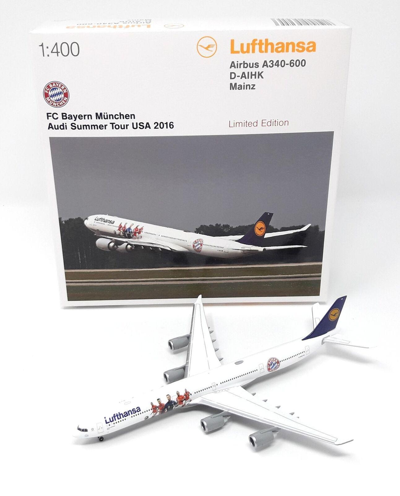 Herpa Wings 1/400 LUFTHANSA AIRBUS A340 BAYERN MONACO AUDI Summer Tour USA 2016