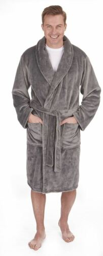 Men/'s Flannel Fleece Shawl Collar Robe M-5XL Luxury Heavy Dressing Gown