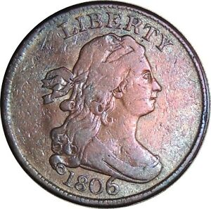 """1806 1/2C Draped Bust Half Cent  VF+ Details """"Cleaned"""" Condition (050221301)"""