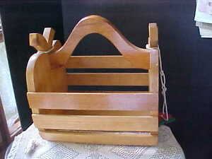 "Wood Basket For Apple Gathering Wooden Slat 11-1/2"" Tall 10"" Across 7"" Deep Used"