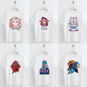 M-2XL-Lovely-Cat-Imprimer-T-SHIRT-femmes-O-cou-a-manches-courtes-Summer-Casual-Tee-Tops