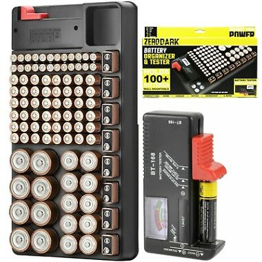 Zerodark Battery Organizer w/ Removable Battery Tester Holds 110 Batteries