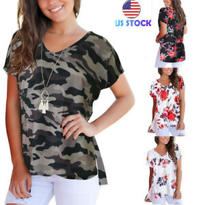 Women-Floral-Camo-Print-Tee-O-Neck-Short-Sleeve-Tops-Summer-Beach-Casual-Blouses
