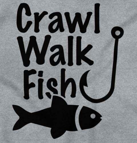 Learn Crawl Walk Fish Gerber OnesieCute Angler Lure Fishing Baby Romper