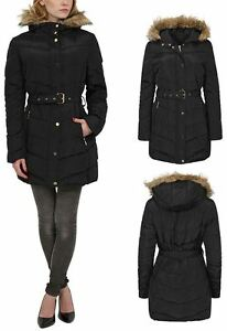 Womens Hood Belt Long Jacket Quilted Winter Coat Padded Faux Fur