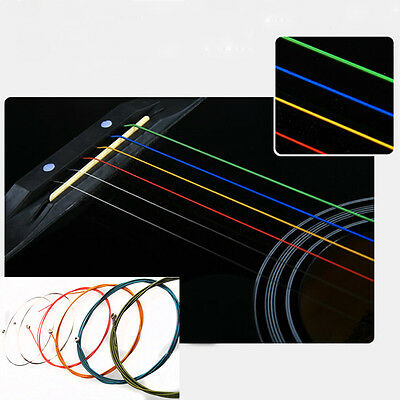 Useful 1-6 E B G D A E Rainbow Colorful Strings Set for Acoustic Folk Guitar
