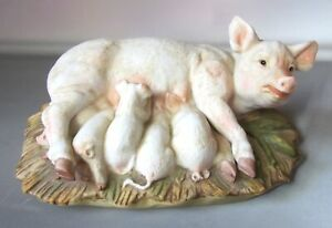 HOMCO-Masterpiece-Porcelain-Pig-Figurine-Sow-w-5-Piglets-1985-Signed-Pigs-7-034