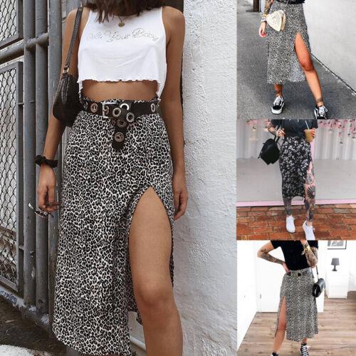Women High Waist Slit Long Skirt Ladier Summer Beach Party Leopard Casual Dr Fy
