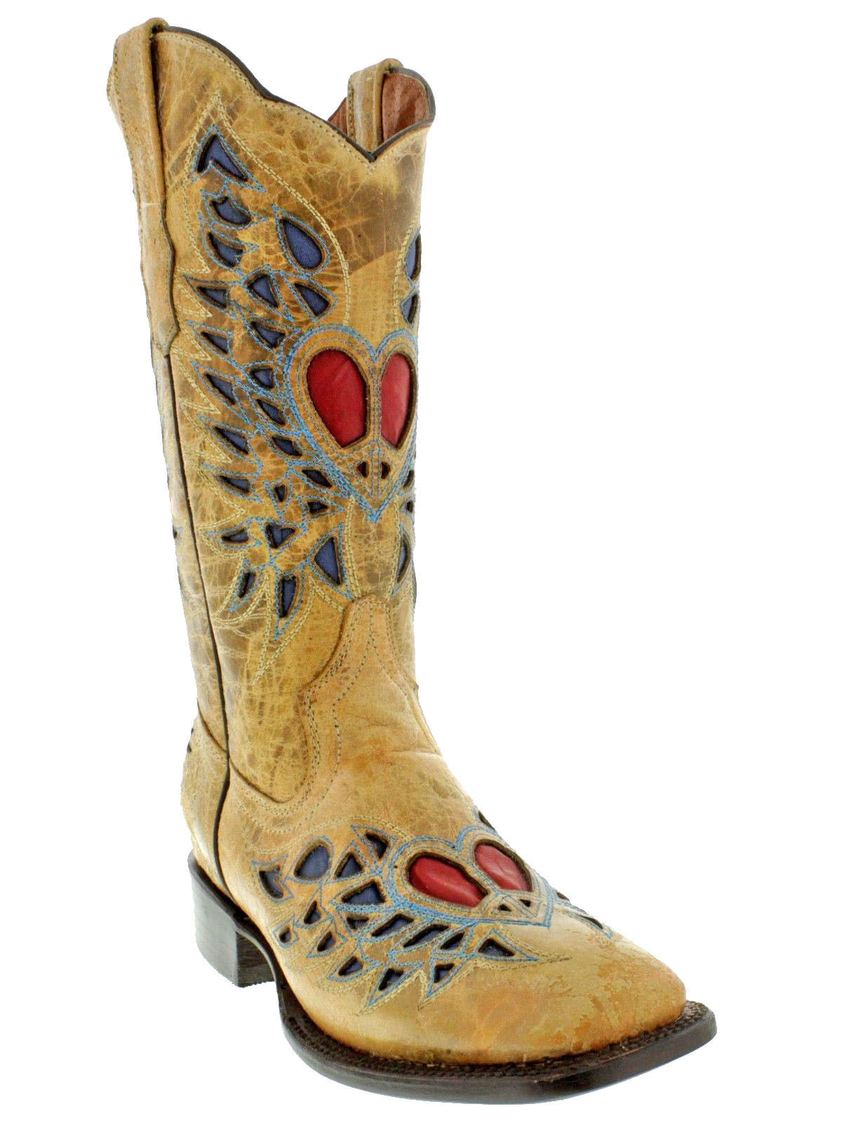 Damens Heart Stiefel Wings Sand Inlay Cowboy Stiefel Heart Distressed  Leder Western Wear 52aa3d