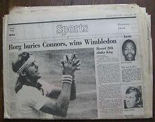 Bjorn Borg Buries Connors Wins Wimbledon - July 9, 1978 Boston Globe Sports Sec