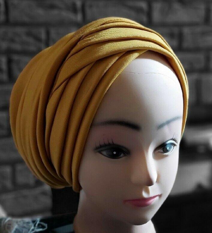 Nigerian Turban cap Gele Headtie Gele Already Made Auto Gele Headtie (mustard)