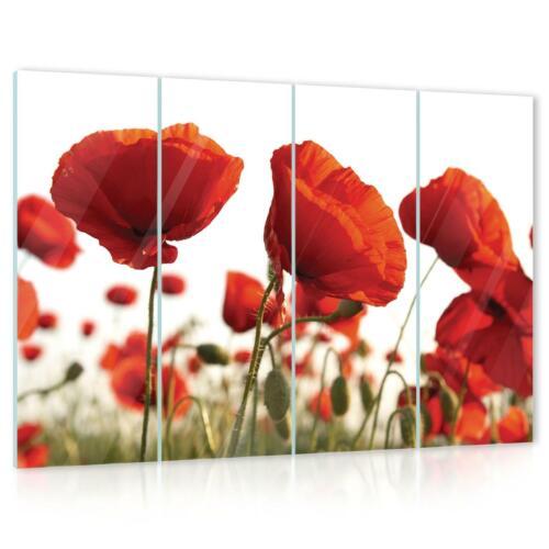 Wald Blumen Wundervolles   Glas Bilder Deko Set 15F0092380 Mohn Natur