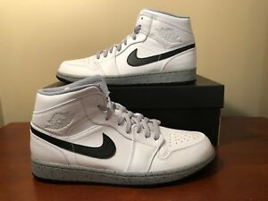 finest selection 7fb00 3d595 Image is loading Nike-Air-Jordan-1-Mid-White-Cement-Wolf-