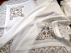 VINTAGE-HAND-EMBROIDERED-WHITE-LINEN-CUTWORK-MONOGRAMMED-LACE-HEM-TABLECLOTH