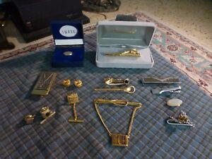 6 Vintage Swank Tie Clip Bar Tie Tack Pin Lot Gold /& Silver Tone