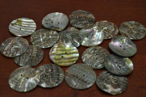 15 PCS ROUND ABALONE SHELL SEWING TWO HOLES BUTTONS 30MM #T-434