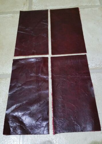 """Rouge Foncé Rouge 9/"""" X 4.5 vintage vous obtenez 4 pieces 100/% cuir chutes Craft Patch"""