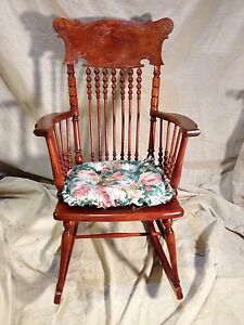 Image Is Loading Antique Solid Cherry Rocking Chair Converted Seat Virginia