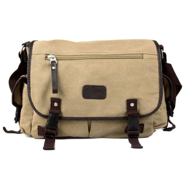 Men's Casual Vintage Canvas Leather School Military Shoulder Bag Messenger Bag
