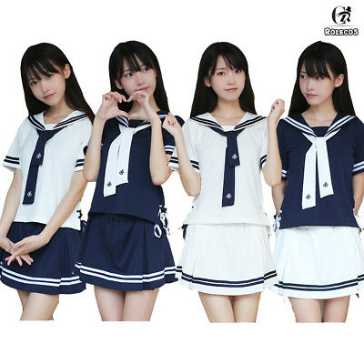 Japanese JK Girl School Uniform Navy Sailor Collar Dress Suit Cosplay Costume