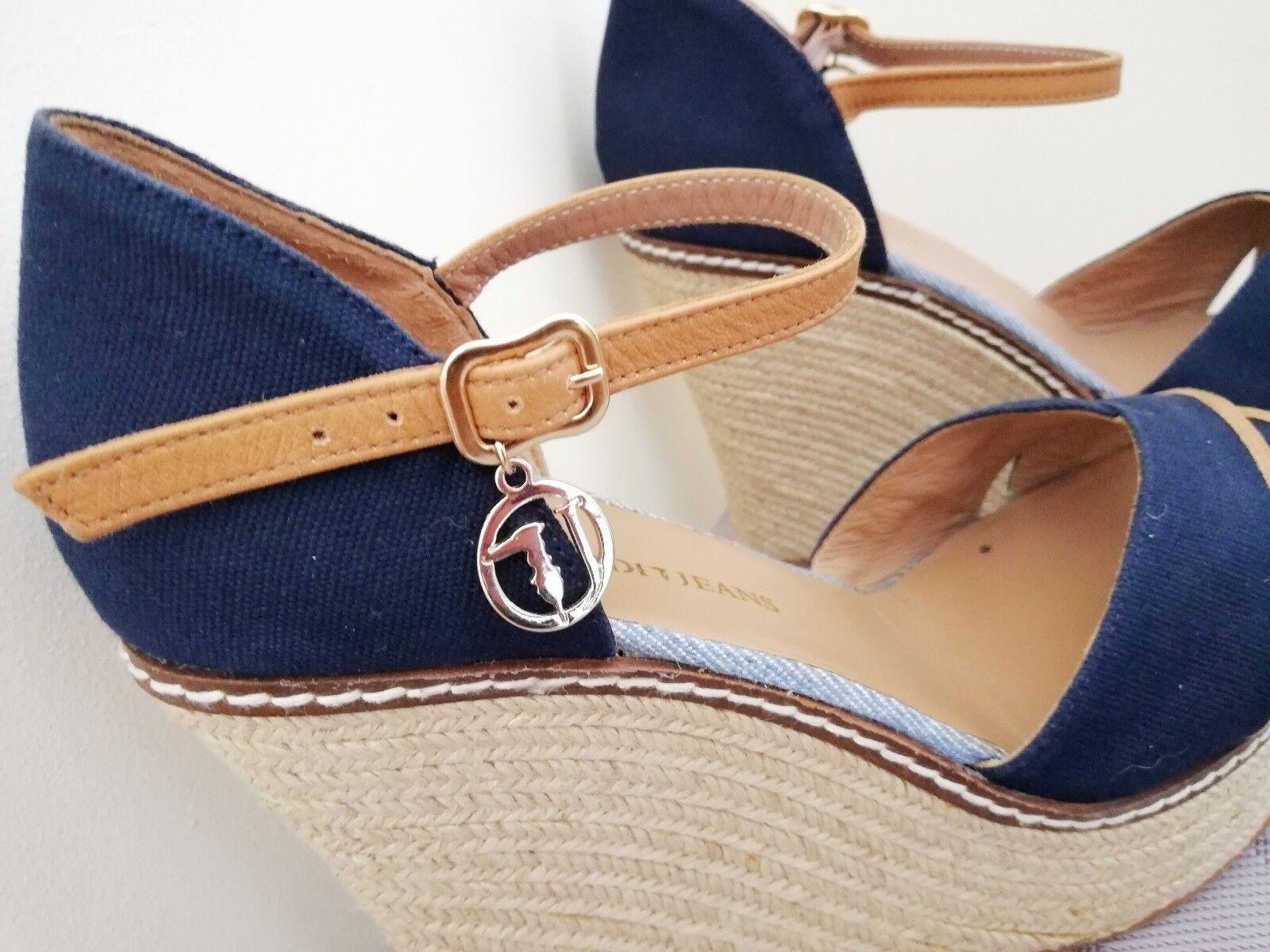Trussardi Größe Jeans NEW Wedges Blau Heels Straw Platform Schuhes Größe Trussardi Eu 41 US9.5 UK7 d257f0