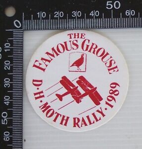 VINTAGE-THE-FAMOUS-GROUSE-D-H-MOTH-RALLY-1989-SOUVENIR-ADVERTISING-PROMO-STICKER